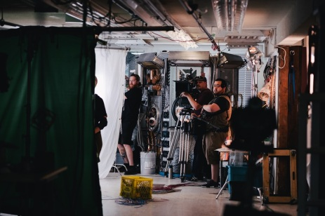 Film crew on set in East Vancouver