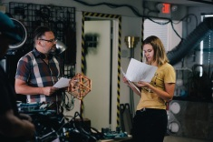 Director Ollie Rankin and lead actress Tiera Skovbye rehearse
